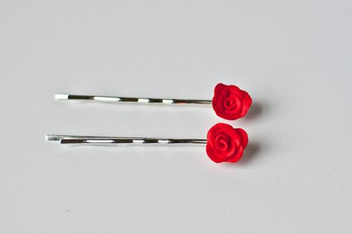 серьги розы из полимерной глины